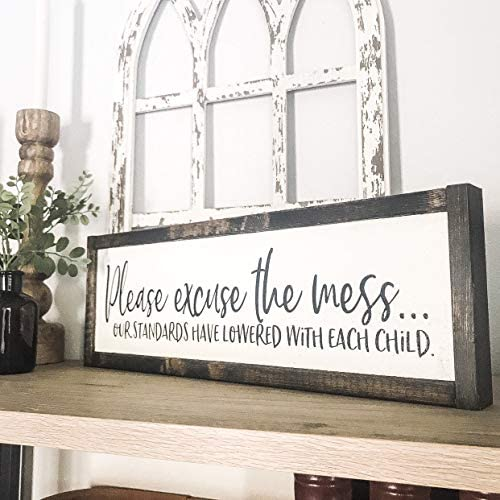 Dozili Please Excuse The Mess Our Standards Have Lowered with Each Child Funny Wood Sign Kids product image