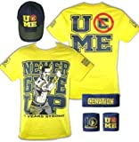 John Cena Kids Yellow Ten Years Strong Costume Hat T-shirt Wristbands Boys