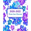 2020-2022 Three-Year Planner: Bright Blue Floral Monthly Planner