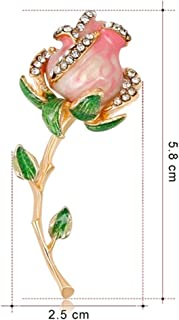Scarf Pin Elegant Flower Brooch Plant Corsage Wedding Clothing Decoration Brooch for Women's Gift (Pink+Blue) (Color : Pink, Size : 2.5x5.8cm)