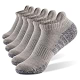 (6Pairs) Athletic Ankle Socks, Meinice Low Cut Cushioned Running Tab Sports Socks for Men and Women (L,Gray)