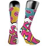 Photo de Soft Mid Calf Length Socks,Kiss Me Word Bubble In Pop Art Style Retro Colorful Dotted Backdrop With Pink Lips,Women Men Socks Cotton Casual Funny Cute