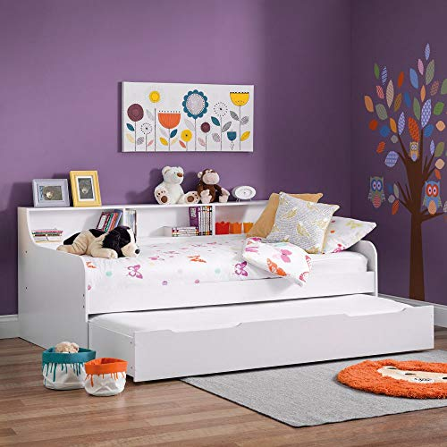 Wooden Guest Bed Daybed with Trundle, Happy Beds Grace White Wood Modern Day Bed - 3ft Single (90 x 190 cm) Frame Only