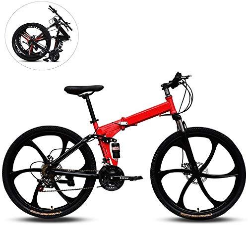 Bicicletas de montaña plegable, 26 pulgadas de seis ruedas de corte de acero al carbono de alta velocidad variable del marco doble shock absorber todo terreno for adultos plegable de la bicicleta, de