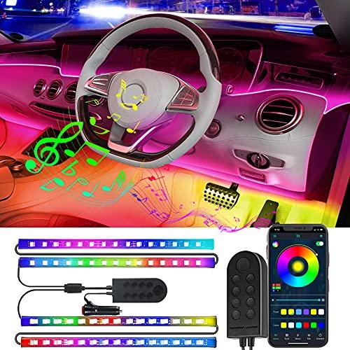 Striscia LED Auto con APP, CNSUNWAY Luci LED Interne per Auto con 48 LEDs, 9 Colori Luci per auto attivate dal suono musicale, 2-1 Line Design Auto Interni LED Neon, Accendisigari per auto incluso