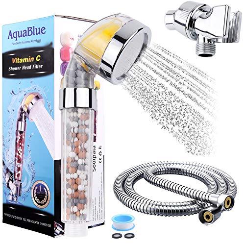 Ionic Duschkopf, Handbrause mit Filter, Vitamin C Brausekopf mit 1,5 m Chrom-Duschschlauch, 4-schichtig Filtration wassersparend mit Druckerhöhung Entfernt Chlor Fluor