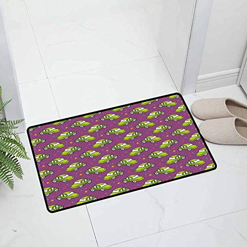 Cars Indoor Outdoor Non Slip Door Mat Office Door Mat Cute Green Play Toy Beetle Cars and Colorful Stars on Space Inspired Purple Backdrop Durable, 23.5 x 15.5 inch Multicolor