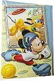 Disney Micky Maus Geburtstagskarte - Sport Fun mit Micky, Pluto und Goofy - mit Glitzereffekt