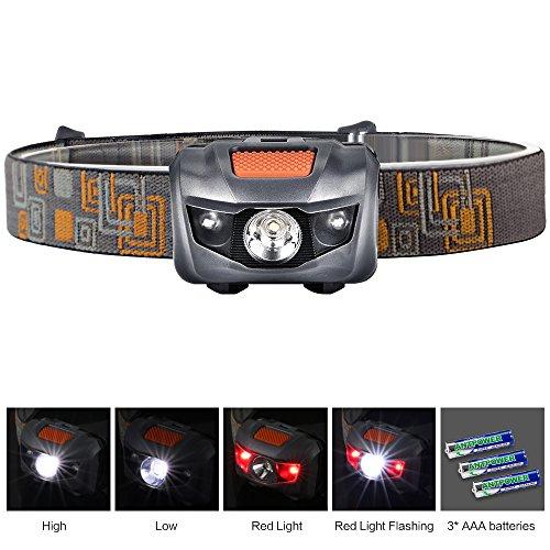 Ultra Brillante Linterna LED de Alta Potencia (300LM) Faro de Linterna Cabeza Ajustable Ideal para Running Camping Pesca y otras Actividades al Aire Libre (Gris)