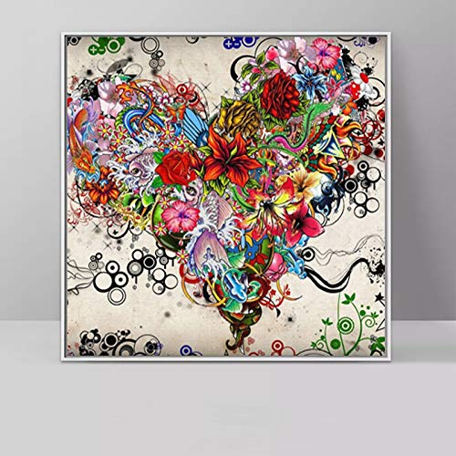 Geiqianjiumai Abstract Love Poster wandkunst malerei leinwand Bild Wohnzimmer Schlafzimmer Moderne Dekoration rahmenlose malerei 70x70 cm