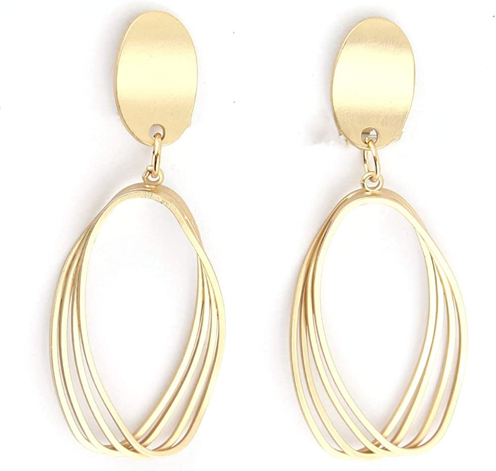 HAPPYAN Gold Color Copper Material Clip on Earrings for Women Statement Cuff Earrings