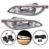Compatible with Toyota Camry 2002-2004 / Compatible with Corolla 2005-2008 / Compatible with Solara 2002-2003 Clear Lens Fog Light Kit with 9006 12V 55W Halogen Lamp + Wiring Kit & Switch