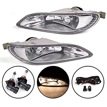 Compatible For Toyota Camry 2002-2004 / Compatible For Corolla 2005-2008 / Compatible For Solara 2002-2003 Clear Lens Fog Light Kit with 9006 12V 55W Halogen Lamp + Wiring Kit & Switch