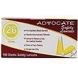 Advocate Safety Lancets 26 Grams x 1.8 mm 100 Bx 20Bx pcs, Case of 20