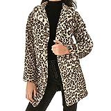 Fanxing Damen Mantel Leopard Sexy Winter Warm Faux Pelzmantel Strickjacke Outwear Jacke (Gelb, M)