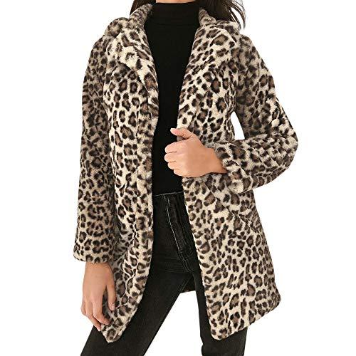 CAOQAO Damen Bedrucktes Schlankes Long Cardigan,Wintermantel WäRmender Mantel, Leopard Reizvoller Winter Warme Imitat Mantel Outwear Mantel Jacke