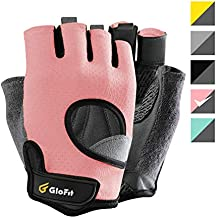 Glofit Ultralight Gloves, Knuckle Weight Lifting Fingerless Gloves with Curved Open Back, for Powerlifting, Gym, Women (Peach, Small)