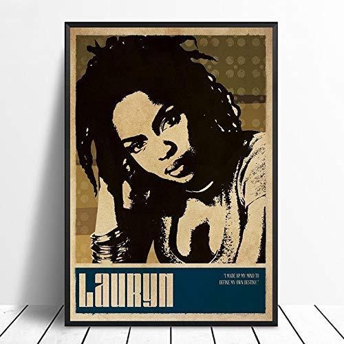 wopiaol Sin Marco Lauryn Hill Music Singer Poster Rap Music Band Star Poster Wall Art Painting Room Decoración para el hogar Impresión de la Lona