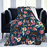 VVGHOPOI Fleece Blanket German Shorthaired Pointer Floral Dog Plush Throw Fuzzy Super Soft Reversible Microfiber Flannel Blankets for All Seasons