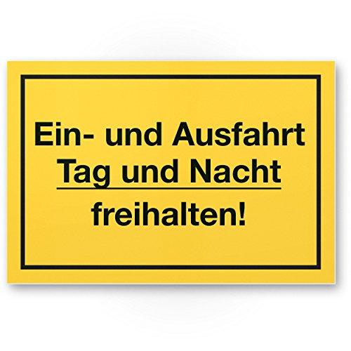 Komma Security Ein- und Ausfahrt Tag- und Nacht Freihalten Kunststoff Schild 30 x 20 cm Warnhinweis Hinweisschild Einfahrt - auch gegenüber Parken verboten - Parkverbot Halteverbot
