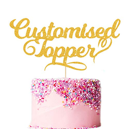 EDSG Personalised Cake Topper. Happy Birthday Decorations. Double Sided Glitter Card. Any Text Customized. Birthday or Wedding Party. Multicolour Glitter Cake Decoration. Wedding Decorations.