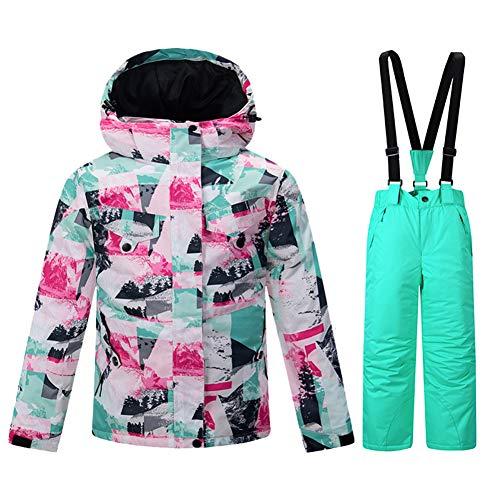 Garçon Et Fille Costume De Ski Hiver Snowboard Imperméable De Plein Air Ski Sports À Capuchon Coupe-Vent Veste De Ski Manteau Pantalon, 03, 36