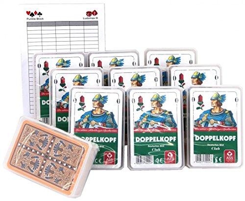 Ludomax Zehnerpaket DOPPELKOPF Deutsches Bild Spielkarten von Ass, Set Block