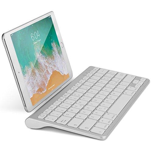 OMOTON Bluetooth Teclado Español con Soporte, Compatible con iPad Air 10.9, iPad 10.2, iPad 9.7, iPad Pro 11, 10.5, iPad Air y Toda Sistema iOS, No Sirve Sistema de Mac - Blanco
