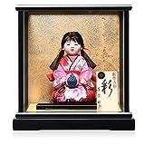 【木目込市松】【市松人形】5号座り手毬持木目込市松人形:漆黒塗木製ケース:芳俊作【ひな人形】【浮世人形】