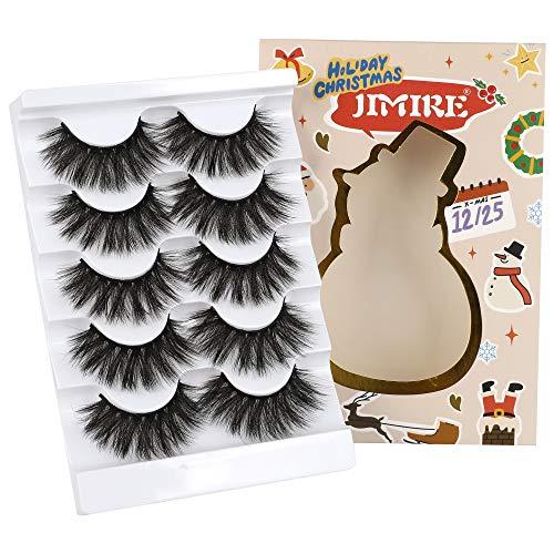 JIMIRE High Volume False Eyelashes Fluffy 3D Lashes Pack 5 Pairs for Christmas