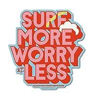ハレイワハッピーマーケット ステッカー SURF MORE WORRY LESS Lサイズ HHM102 おしゃれ ハワイ ノースショア グッズ