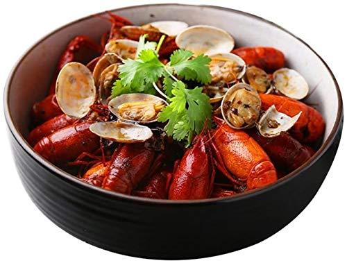 Circular esmalte cerámico negro sopa Niceamz, en un bol, cereales, sopas, pasta, platos principales, postres y aperitivos,18 x 5,3 cm