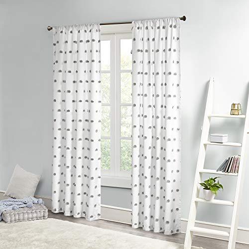 "Intelligent Design Sophie Sheer Window Curtain Panel Clipped Pompom Embelished Privacy Drape with Rod Pocket for Bedroom, Livingroom, 50"" x 84"", Grey"