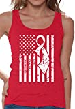 Awkward Styles Women's Lung Cancer Awareness Tank Tops for Women White Ribbon Red L