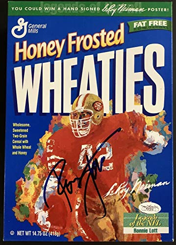 Ronnie Lott Signed Cereal Box Wheaties Football Autograph LeRoy Neiman Art JSA - Autographed Footballs