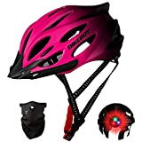 Enjoyfeel Casco de Ciclismo, protección de Seguridad para Bicicleta de Ciclismo para Adultos, Casco de Bicicleta de montaña Ligero y Ajustable con máscara (Pink)