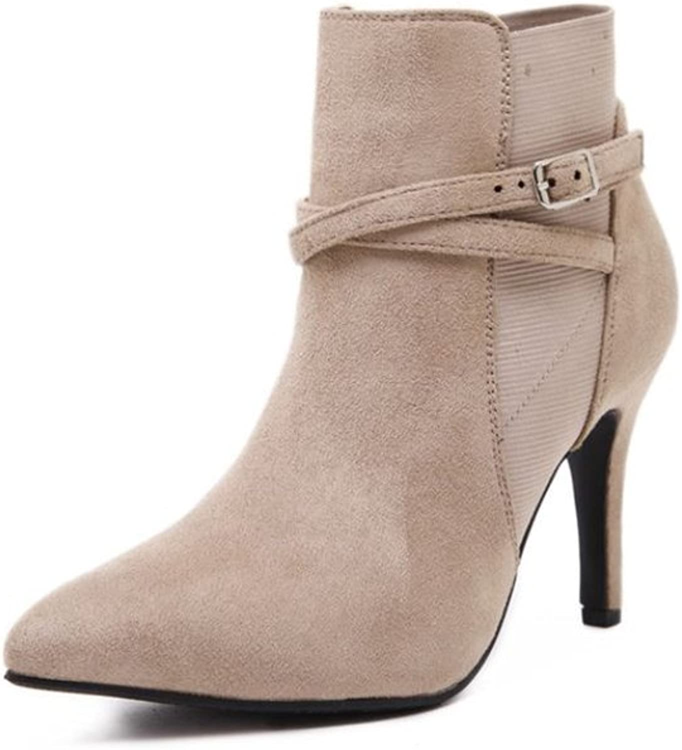 pink town Women's Elegant Faux Suede Pointed Toe Bridal Booties high Heel Ankle Boots shoes