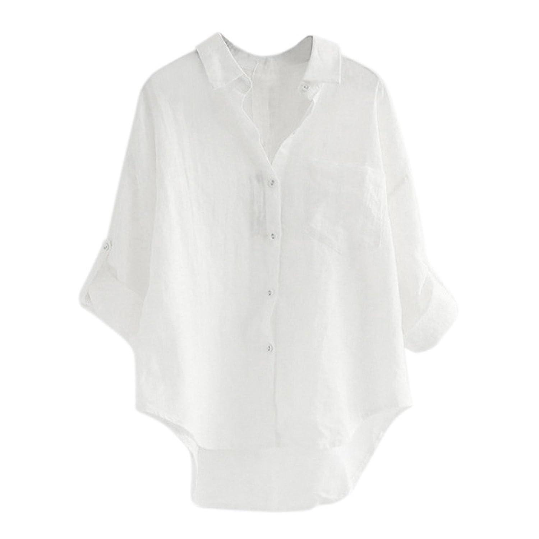 トップス レディース 夏 Kohore シャツチュニック ブラウス 7分袖 リネン 麻 可愛い ゆったり 体型カバー おしゃれ セクシー 無地 7色 s-xl 3l 4l 大きいサイズ 上着 春 秋 women ゆるtシャツ