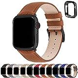 Correa para Apple Watch, Fullmosa Correas de Cuero Genuino Compatible con Apple Watch SE Series 7 Series 6 Series 5 Series 4, Series 3/2/1, Marrón + hebilla de Negro ,42mm/44mm/45mm