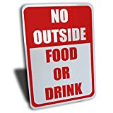 Wake Up Signs No Outside Food or Drink Sign, Aluminum, Red, 7' by 10' …