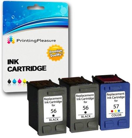 Printing Pleasure 3 Druckerpatronen für HP Photosmart 7260 7350 7450 7660 C4180 C4280 C5280 Deskjet 5550 450CBi Officejet 5610 4215 PSC 1215 1210 1315   kompatibel zu HP 56 (C6656AE) & HP 57 (C6657AE)