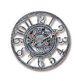 NMDCDH 30cm große r&e Schwarze Wanduhr aus Metall Große Uhr Garten Wanduhr im Freien Antike Vintage Retro-Stil römische Ziffern Handbemalte Kirchenuhr Rost