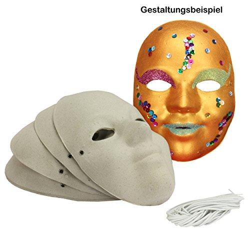 Maske Kinder / Jugendliche aus Pappe 6 Stück blanko Kindermasken robuste Pappe ca. 18,5 x 13 cm Karnevalsmasken Gesichtsmasken zum selber basteln Masken Maskenball Kostüm-Ball Fasching   221400