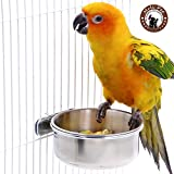 Mrli Pet Bird Parrot Feeding Cups with Clamp Holder Stainless Steel Coop Cup Food Water Bowls Dish Feeder for Cockatiel Conure Parakeet Chinchilla Hummingbird