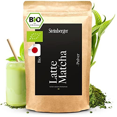 Bio Latte Matcha Pulver   Premium Qualität   Bio Grüntee Pulver der ideale Kaffee-Ersatz   Original japanisches Matcha Pulver ohne Zusatzstoffe u. laborgeprüft   100g sehr fein gemahlen