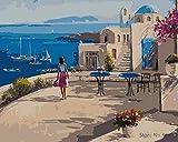 Peinture par numéros Blue Ocean Girl pour enfants et adultes DIY peinture toile de lin peinture salon chambre étude peinture décorative (avec cadre)
