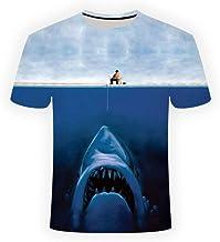 OEWFM Camiseta 3D de Casual Cuello Redondo Camiseta Gran tiburón impresión 3D acercándose a su Presa