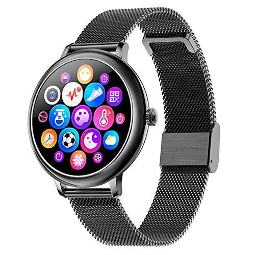 QNMB Redondo Lady Smart Watch CF80 Tasa cardíaca y monitoreo de la presión Arterial Podómetro Bluetooth Smart Pulsera Smart Watch,B