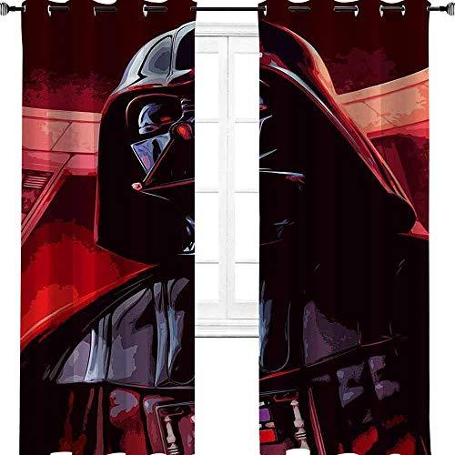 aotuma Darth Malgus vs Darth Vader Verdunkelungsvorhänge für Schlafzimmer/Wohnzimmer, Thermo-Vorhänge für Jungen-Schlafzimmer, Polyester, multi, 2 panel(32