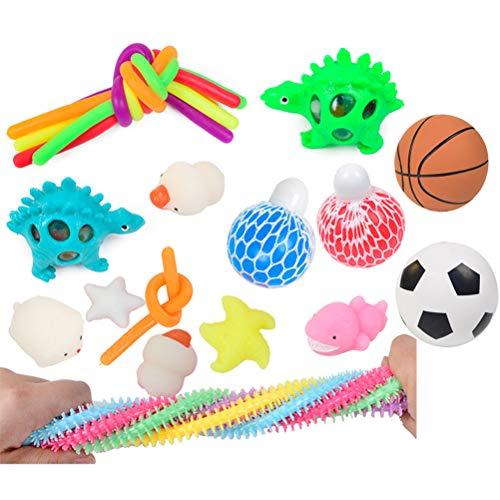 spier Sensory Toys - Juego de juguetes elásticos de TPR, juguetes de mano, juguetes de descompresión, regalos de cumpleaños para niños y adultos (color al azar, 22 unidades)